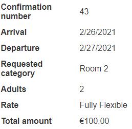 Confirmation reservation details